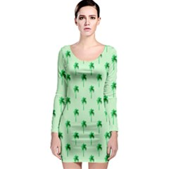 Palm Tree Coconoute Green Sea Long Sleeve Bodycon Dress