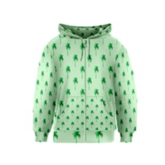 Palm Tree Coconoute Green Sea Kids  Zipper Hoodie