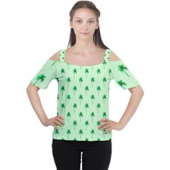 Palm Tree Coconoute Green Sea Women s Cutout Shoulder Tee
