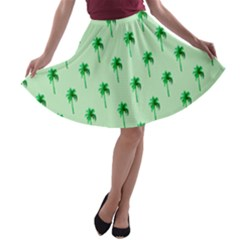 Palm Tree Coconoute Green Sea A-line Skater Skirt