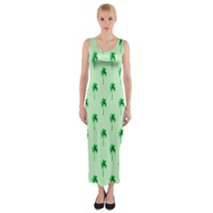 Palm Tree Coconoute Green Sea Fitted Maxi Dress
