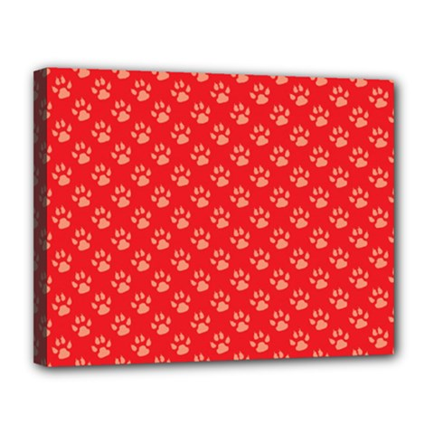 Paw Print Background Wallpaper Cute Paw Print Background Footprint Red Animals Canvas 14  x 11