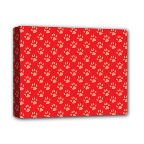 Paw Print Background Wallpaper Cute Paw Print Background Footprint Red Animals Deluxe Canvas 14  x 11