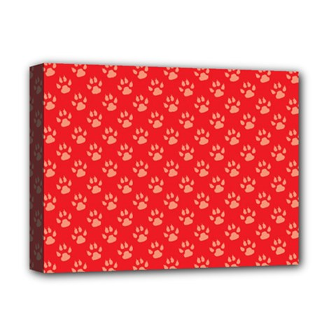 Paw Print Background Wallpaper Cute Paw Print Background Footprint Red Animals Deluxe Canvas 16  x 12