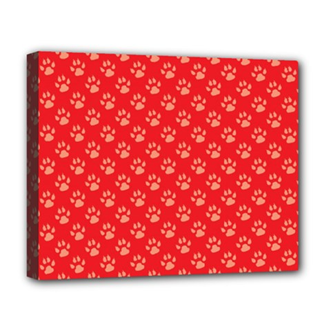 Paw Print Background Wallpaper Cute Paw Print Background Footprint Red Animals Deluxe Canvas 20  x 16