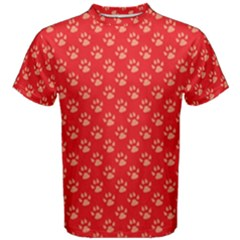 Paw Print Background Wallpaper Cute Paw Print Background Footprint Red Animals Men s Cotton Tee