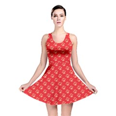 Paw Print Background Wallpaper Cute Paw Print Background Footprint Red Animals Reversible Skater Dress