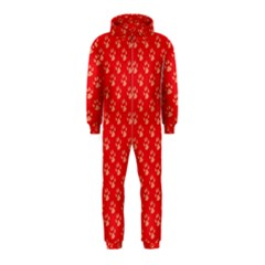 Paw Print Background Wallpaper Cute Paw Print Background Footprint Red Animals Hooded Jumpsuit (Kids)