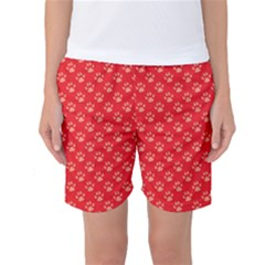 Paw Print Background Wallpaper Cute Paw Print Background Footprint Red Animals Women s Basketball Shorts