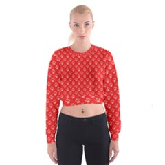 Paw Print Background Wallpaper Cute Paw Print Background Footprint Red Animals Women s Cropped Sweatshirt