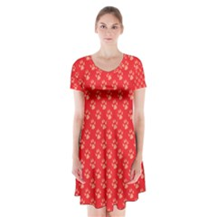 Paw Print Background Wallpaper Cute Paw Print Background Footprint Red Animals Short Sleeve V Neck Flare Dress