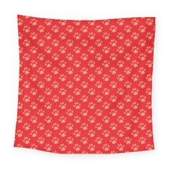 Paw Print Background Wallpaper Cute Paw Print Background Footprint Red Animals Square Tapestry (large)
