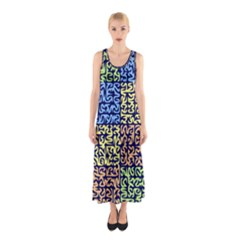 Puzzle Color Sleeveless Maxi Dress