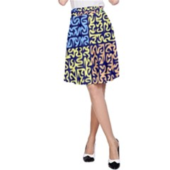 Puzzle Color A-Line Skirt