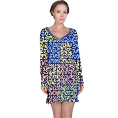 Puzzle Color Long Sleeve Nightdress
