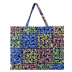 Puzzle Color Zipper Large Tote Bag