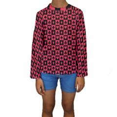Queen Hearts Card King Kids  Long Sleeve Swimwear