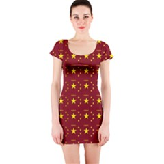 Chinese New Year Pattern Short Sleeve Bodycon Dress