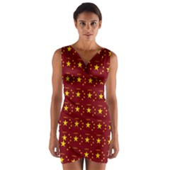 Chinese New Year Pattern Wrap Front Bodycon Dress