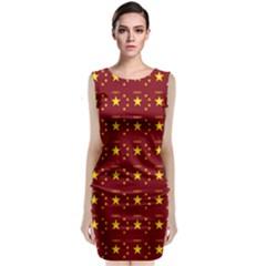 Chinese New Year Pattern Sleeveless Velvet Midi Dress