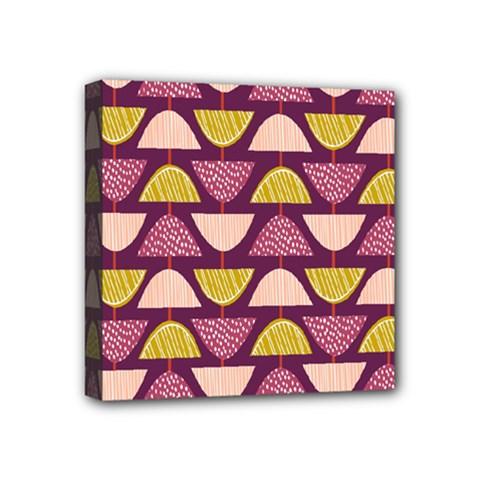 Retro Fruit Slice Lime Wave Chevron Yellow Purple Mini Canvas 4  x 4