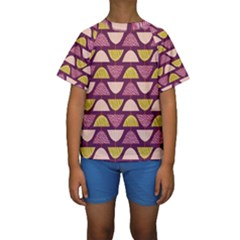 Retro Fruit Slice Lime Wave Chevron Yellow Purple Kids  Short Sleeve Swimwear