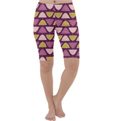 Retro Fruit Slice Lime Wave Chevron Yellow Purple Cropped Leggings