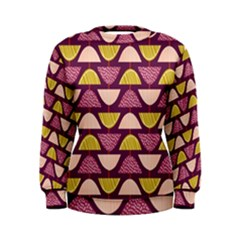 Retro Fruit Slice Lime Wave Chevron Yellow Purple Women s Sweatshirt