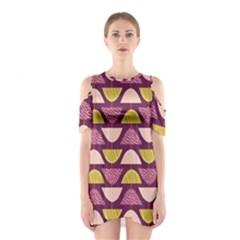 Retro Fruit Slice Lime Wave Chevron Yellow Purple Shoulder Cutout One Piece