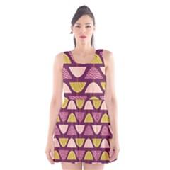Retro Fruit Slice Lime Wave Chevron Yellow Purple Scoop Neck Skater Dress