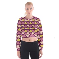 Retro Fruit Slice Lime Wave Chevron Yellow Purple Women s Cropped Sweatshirt