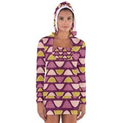 Retro Fruit Slice Lime Wave Chevron Yellow Purple Women s Long Sleeve Hooded T-shirt