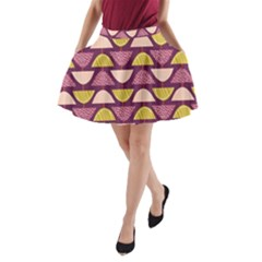 Retro Fruit Slice Lime Wave Chevron Yellow Purple A-Line Pocket Skirt