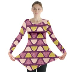 Retro Fruit Slice Lime Wave Chevron Yellow Purple Long Sleeve Tunic