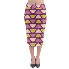 Retro Fruit Slice Lime Wave Chevron Yellow Purple Midi Pencil Skirt