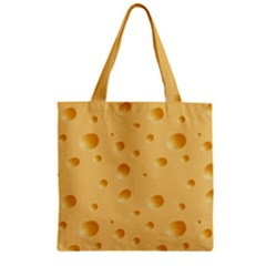 Seamless Cheese Pattern Zipper Grocery Tote Bag