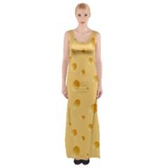 Seamless Cheese Pattern Maxi Thigh Split Dress