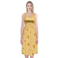 Seamless Cheese Pattern Midi Sleeveless Dress