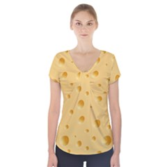 Seamless Cheese Pattern Short Sleeve Front Detail Top