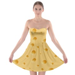 Seamless Cheese Pattern Strapless Bra Top Dress