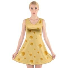 Seamless Cheese Pattern V-Neck Sleeveless Skater Dress