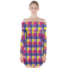 Sheath Malay Sarong Motif Long Sleeve Off Shoulder Dress