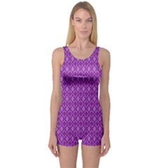 Surface Purple Patterns Lines Circle One Piece Boyleg Swimsuit
