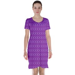Surface Purple Patterns Lines Circle Short Sleeve Nightdress