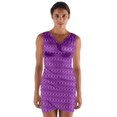 Surface Purple Patterns Lines Circle Wrap Front Bodycon Dress