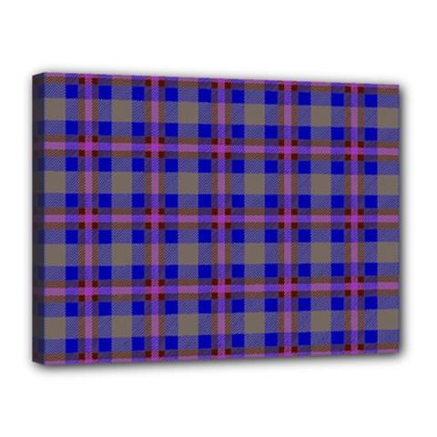 Tartan Fabric Colour Blue Canvas 16  x 12
