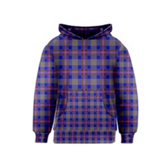 Tartan Fabric Colour Blue Kids  Pullover Hoodie