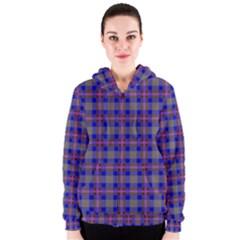 Tartan Fabric Colour Blue Women s Zipper Hoodie