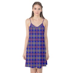Tartan Fabric Colour Blue Camis Nightgown
