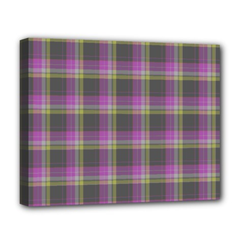 Tartan Fabric Colour Purple Deluxe Canvas 20  x 16
